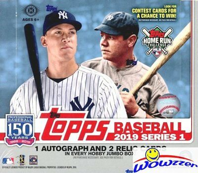 2019 Topps Series 1 Baseball HUGE Factory Sealed HOBBY JUMBO Box-3 AUTO/RELIC