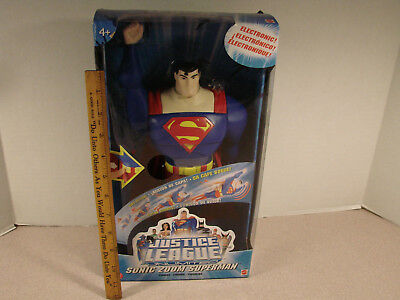 "SUPERMAN 2004 JUSTICE LEAGUE SONIC ZOOM ELECTRONIC 12/"" FIGURE MATTEL NEW SEALED"