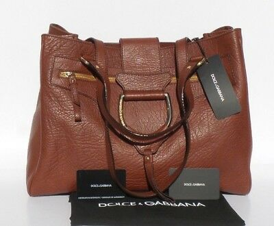 7b0a61bb56  1695 DOLCE   GABBANA Cognac Brown Grained Leather Gold D Ring Tote Shoulder  Bag