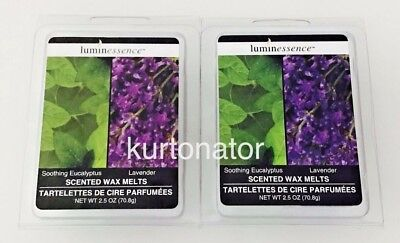 2x Luminessence Wax Melts EUCALYPTUS & LAVENDER 6ct Pack NEW 12 Wax Cubes Total