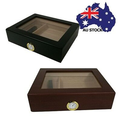AU Luxury Cedar Wood Lined Cigar Humidor Box Storage Case Humidifier Hygrometer