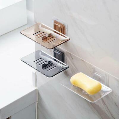 Wall Mounted Bathroom Soap Dishes Plate Holder Rack Transparent Self