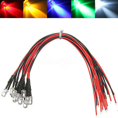 10/20/50x LED Lamp Light Bulb 20cm Pre Wired 5mm Red/Green/Blue/Yellow/White 12V