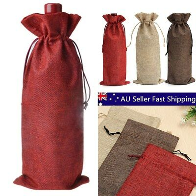 10x Linen Bags Wedding Holiday Parties Decor Wine Bottle Bags Gift Pouch 16x36cm