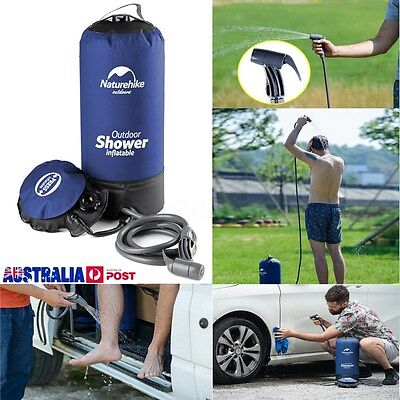 12L Portable Inflatable Shower Bag Folding Barrel Camping Water Storage Outdoor