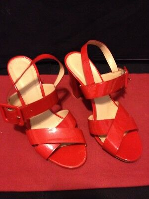 a945c21cfaa29 J.Crew Patent Leather Red Orange Block Buckle Heel Sandals Woman s Size 8  Italy