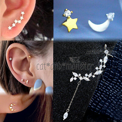 Crystal Sterling Silver Stud Ring Bar Ear Climber Cartilage Piercing Earrings