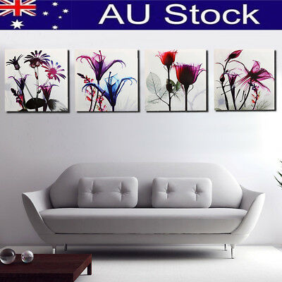 4 Panels Framed Canvas Picture Photo Print Multi Flower Wall Art Home Decoration