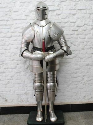 Medieval Greek Collectible Silver Polish Gothic In Suit of Armor With Sword Gift