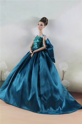 Fashion Turquoise  Bowknot Floor-Length Ball Gown Dress For 11.5 inch Doll
