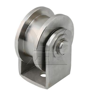 6.3cm Dia Stainless Steel H Shape Track Fixed Pulley Wheel Rigid Plate Caster