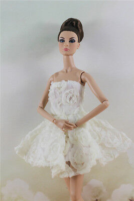 Fashion White Flower  Skirt Evening Party Dress Gown Clothes For 11.5in.Doll