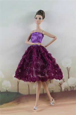 Fashion Purple Flower Skirt Evening Party Dress Gown Clothes For 11.5in.Doll