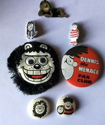 Vintage Dennis The Menace Fan Club Gnasher 6 Badges