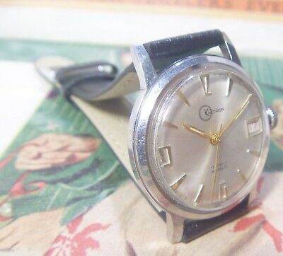 EXCELLENT 1960s Kaltron 17J Swiss Gents RED Date Window ALL Stainless RUNS  L@@K