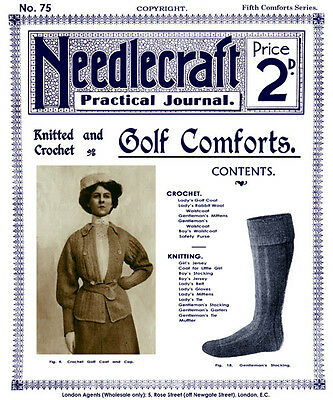 Needlecraft Practical Journal #75 c.1909 Vintage Fashion Knitting Patterns