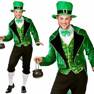 Mens Deluxe Leprechaun Irish St Patricks Day Fancy Dress Costume Outfit New