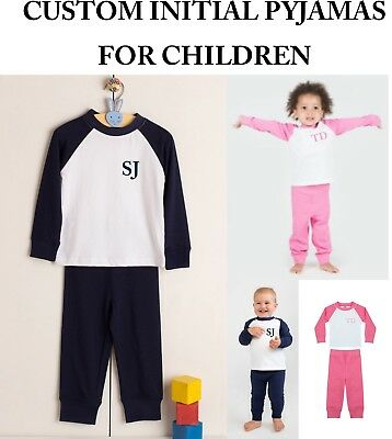 Personalised Initials Children's Pyjamas Kids Custom PJs Sleepwear Boys Girls