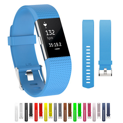 for FitBit Charge 2 Strap Soft Silicone Replacement Classic Metal Buckle Band