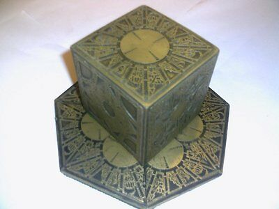 Hellraiser Puzzle Box  With A Round Top Antique Gold Finish with base.