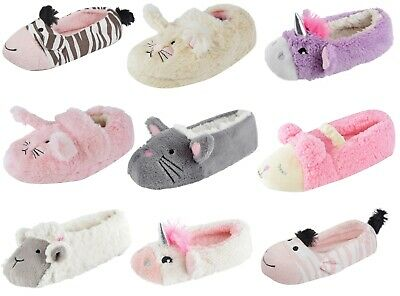 New Childrens Novelty Plush 3D Slippers Booties Mules Girls Character Xmas Gift