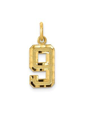 14k Yellow Gold Diamond-Cut Number 9 Charm Pendant - 7x20mm 0.62 Grams