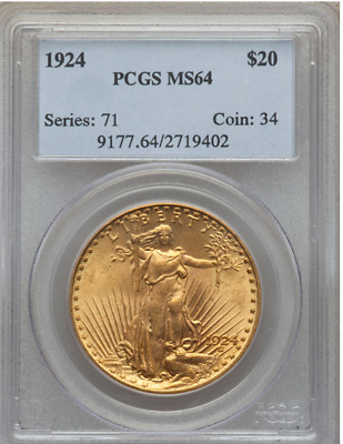 1924 $20 Gold Saint Gaudens PCGS MS64