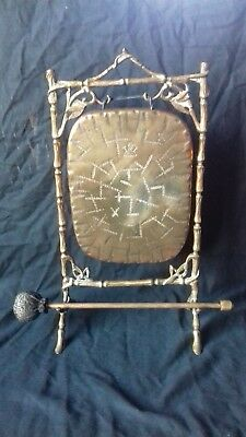 Antique Edwardian Victorian Suckling Burmese Harmonic Brass  Table Dinner Gong