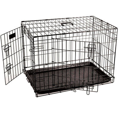 Cat Crate Kitten Cage Metal Pet Carrier Bed Basket Transport Tray Folding Train