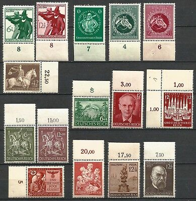 Germany Third Reich 1943-1944 Collection MNH Commemorative Stamps Marginals