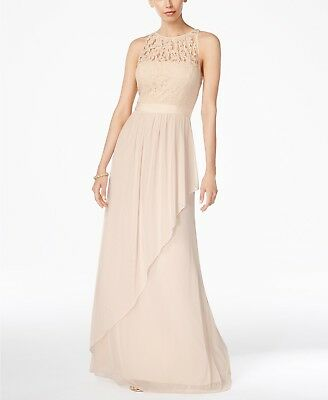 New $478 Adrianna Papell Womens Beige Lace Illusion Crew-Neck Gown Dress Size 10