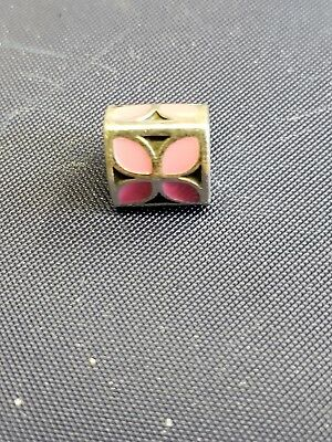 """Authentic Vintage Pandora 925 Sterling Silver """"Pink Flower"""" Charm Bead"""