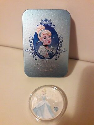 Disney Princess Cinderella Collectors Coin Silver Plated With Tin Gift