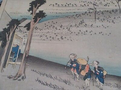 19th Century Japanese Landscape Print Of A Roadside Inn