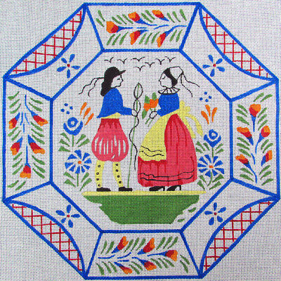 HP Needlepoint 13ct Quimper Man and Woman Plate Pillow-HI9