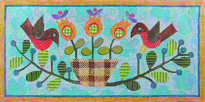 HP Needlepoint 18ct PATTY PAINTS / Sue Spargo Two Birds-HR12