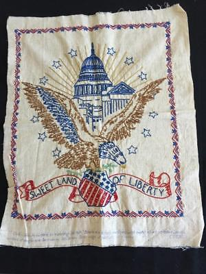 Vintage Finished patriotic embroidery piece 17 x 22 Liberty eagle capitol
