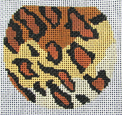 HP Needlepoint 18ct LEE Leopard pattern w brown Luggage Tag-LB3