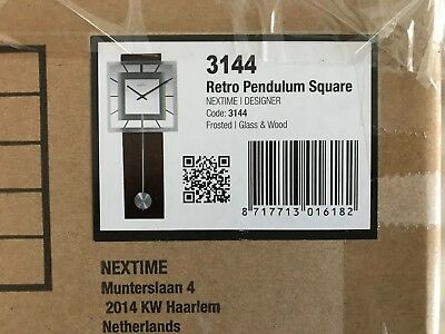Nextime 3144 Retro Pendulum Square Wall Clock with Glass Face, Radio Controlled