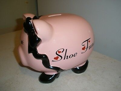 NEW Shoe Fund Pink Piggy Bank with Black Bow & Shoes