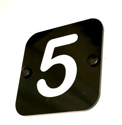 Personalised Door Number Sign Plaque in Acrylic With White Vinyl Numbers