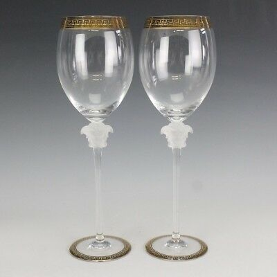 073e6c5af1f Pair of Versace Rosenthal Medusa Lumiere D Or Crystal Red Wine Glasses NR  DMK