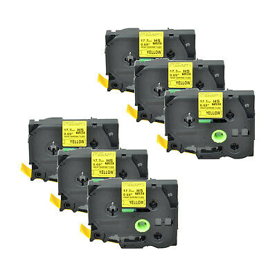 """6PK Heat Shrink Cartridge Label Black on Yellow HSe641 For Brother P-Touch 3/4"""""""