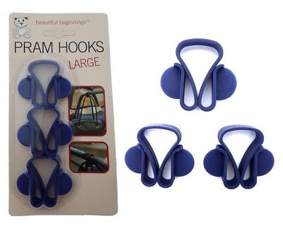 3 Large Blue Baby Pram Buggy Stroller Pushchair Hooks Clips Carrier Bag Holders