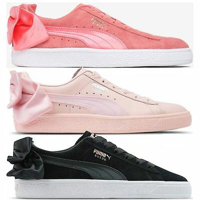 WOMEN S PUMA SUEDE Bow Block Casual Shoes Black Pink 36745302 002 ... 6269d65c9