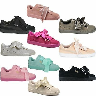 b8a5d2411df61f PUMA SUEDE HEART Reset Women s Velvet Bow Lace-Up Athletic Fashion ...
