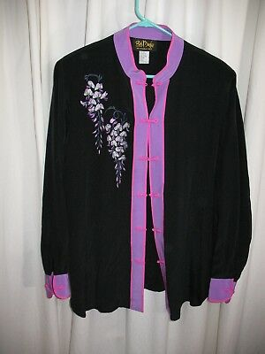 0ba2ef62e0d387 Bob Mackie Dressy Wearable Art Silk Tunic Blouse Women Large Embroidered  Kimono