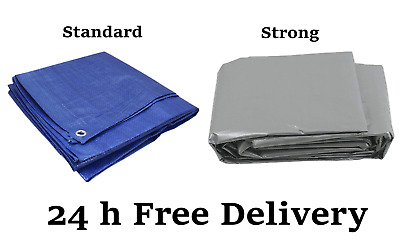 Heavy Duty Tarpaulin Blue Waterproof Cover Tarp Ground Camping Sheet ALL SIZES