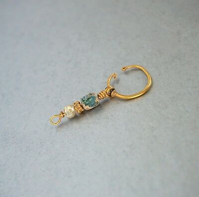 Roman Period Solid Gold Pendant Earring with a Glass Bead and Pearl.
