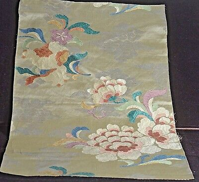 Vintage Antique Lyon Silk Brocade Panel Floral Uu233